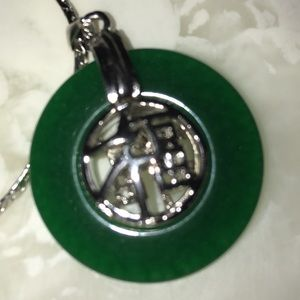 Real jade silver plated necklace